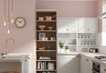 Phòng bếp ấm cúng với gam màu hồng