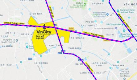 Soi vị trí chính xác đại đô thị VinCity Sportia của Tập đoàn Vingroup trên trục Đại lộ Thăng Long