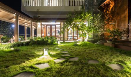 Ngôi nhà có sân vườn được 'cẩu' lên tầng hai